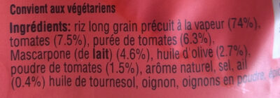 Riz Tomate et Huile d'Olive - Ingrédients