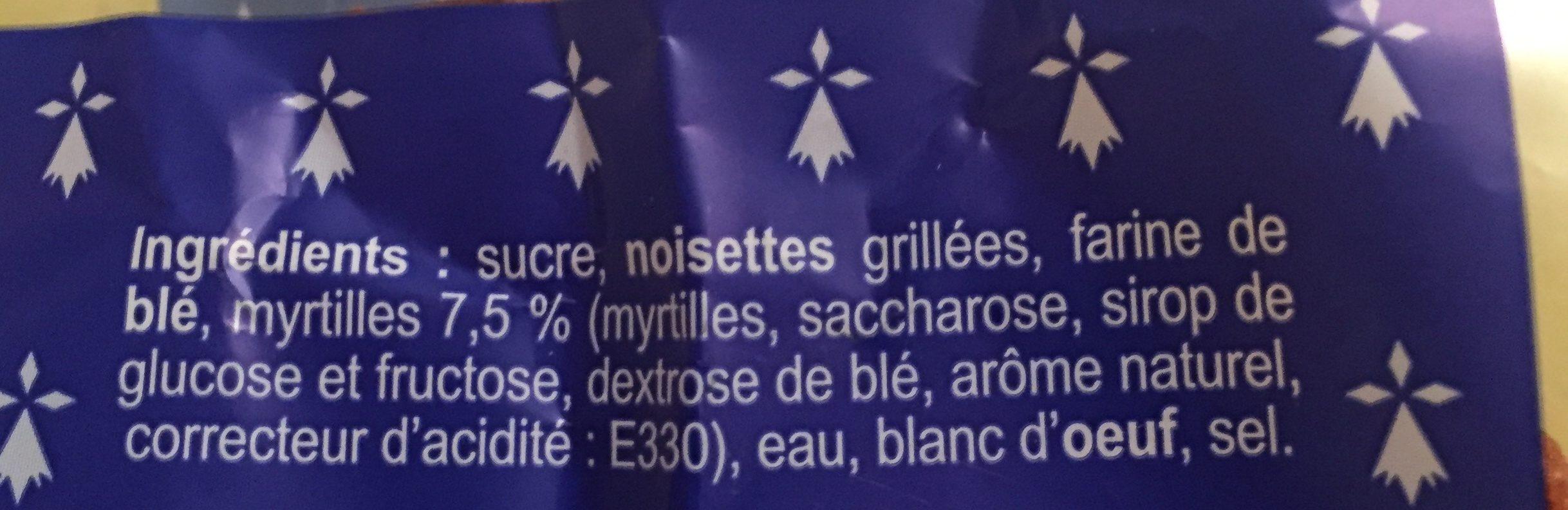 Le Crakou à la myrtille - Ingrediënten