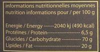 Crêpe dentelle ( chocolat au lait ) - Informations nutritionnelles - fr