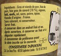 Pâté Landais, 180 Grammes, Marque Duplaceau - Ingredients