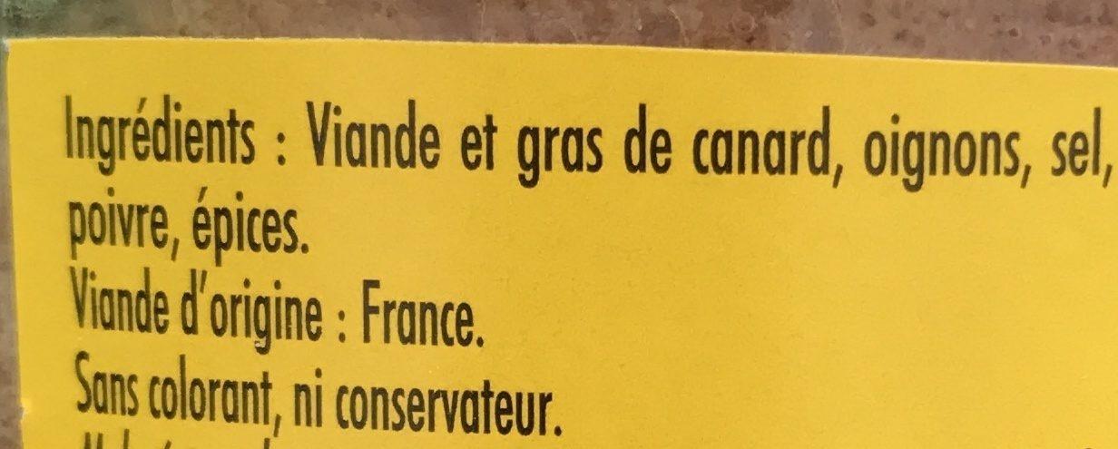 Rillettes de canard artisanales - Ingrédients - fr