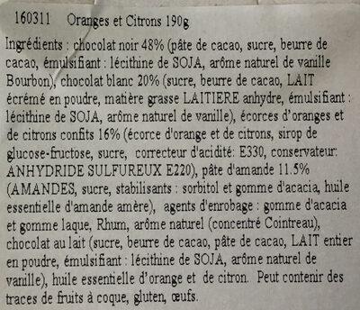 Oranges & Citrons - Ingredients