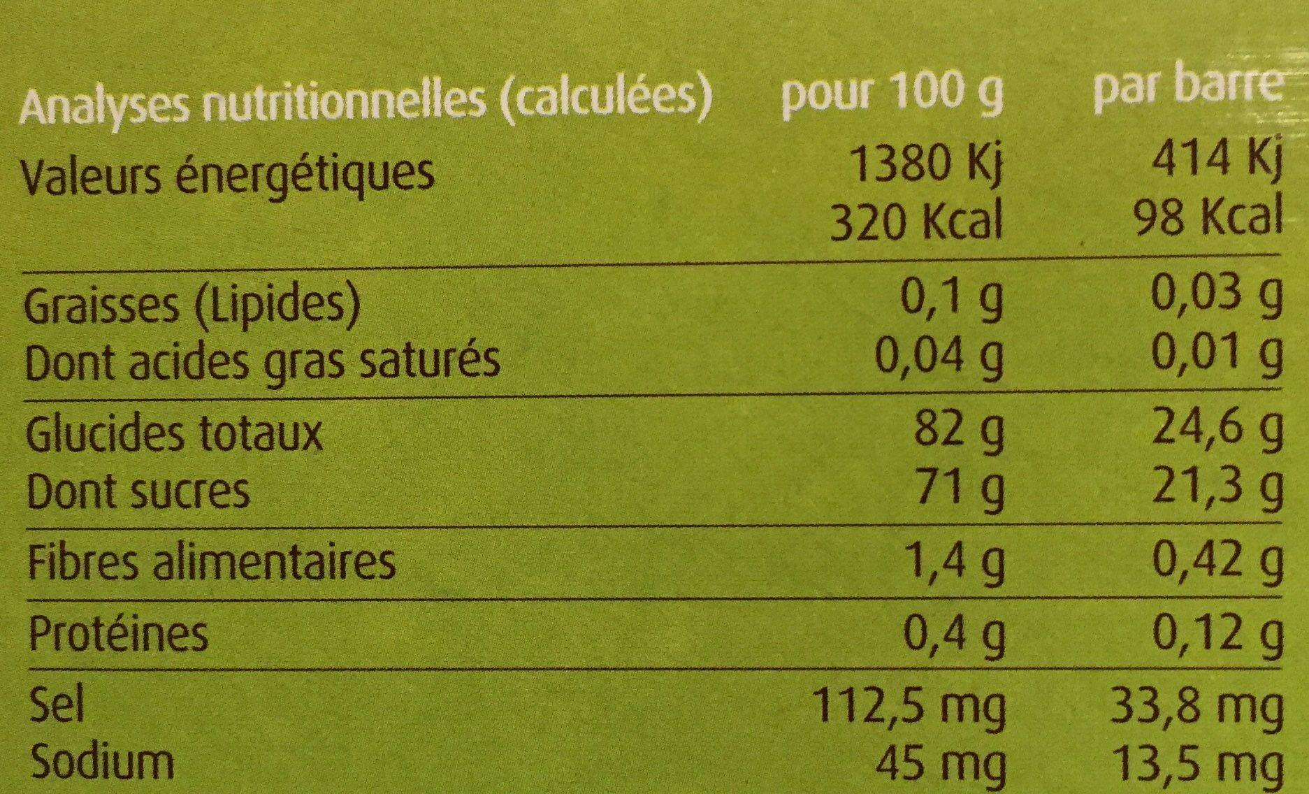 Pâtes de Fruits de Provence Bio France Marion étui - Informations nutritionnelles - fr