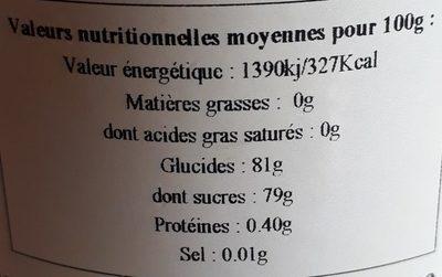 Miel Châtaignier - Nutrition facts - fr