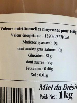 Miel Eucalyptus - Ingredients