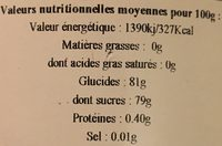 Miel Eucalyptus - Nutrition facts