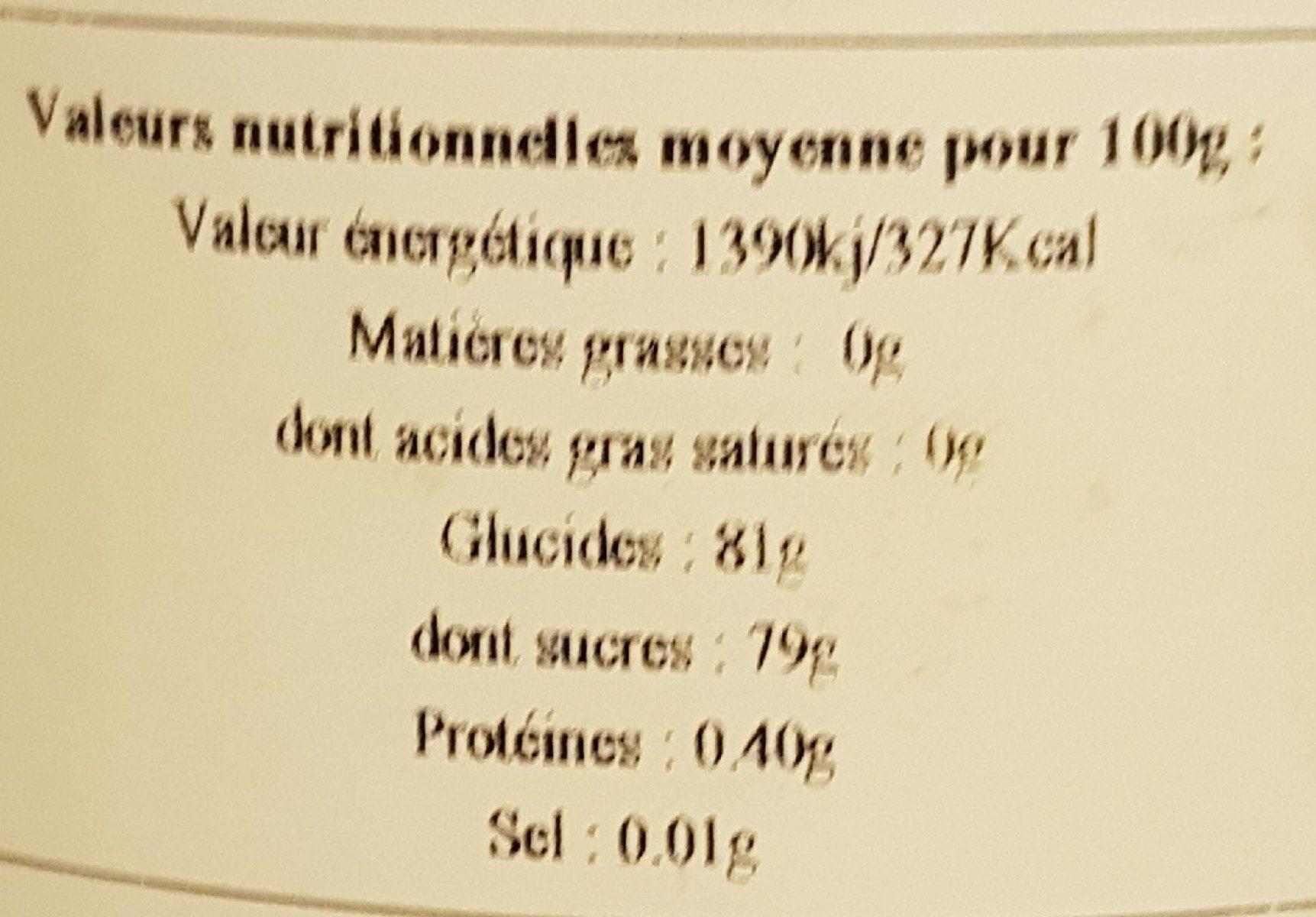 miel acacia - Nutrition facts - fr