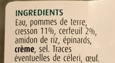 Soupe Cresson Cerfeuil - Ingrediënten - fr