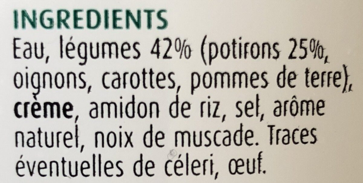 Supreme de potiron Contient 4 legumes. - Ingrediënten - fr