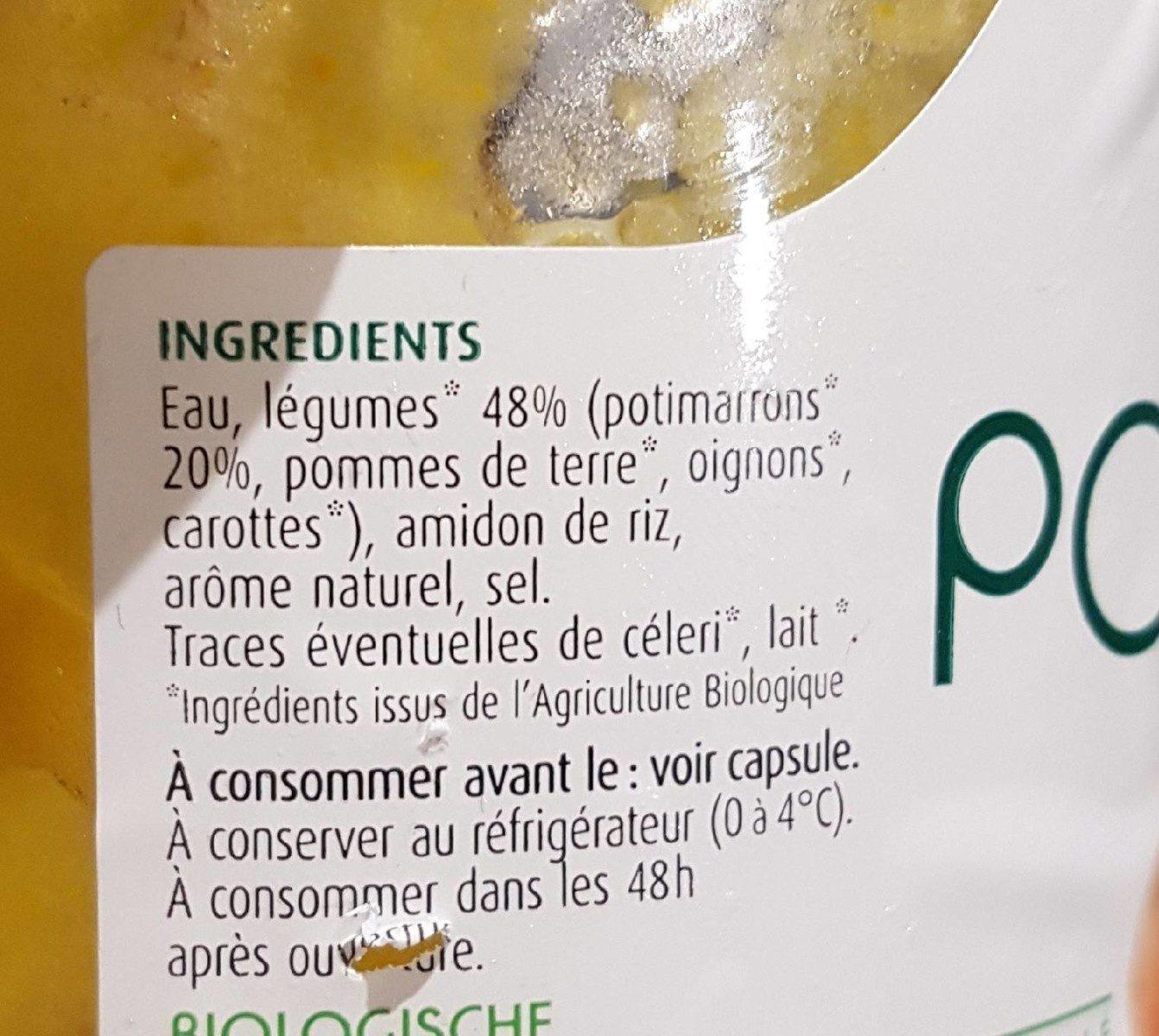 Potage bio Potimarron - Ingrediënten - fr