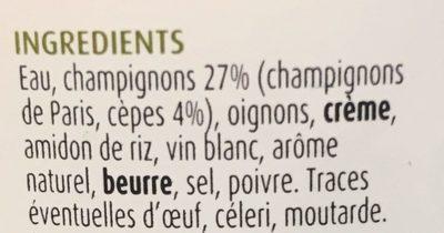 Velouté champignons & cèpes - Ingrediënten - fr