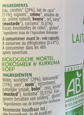 Potage biologique carotte coco curcuma - Ingrediënten - nl