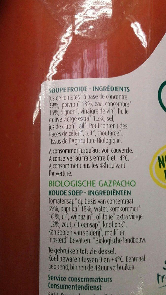 Gaspacho bio - Ingrediënten - fr