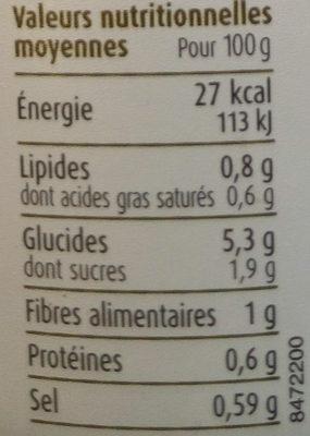 Soupe de Légumes Biologiques 5 Légumes - Voedingswaarden