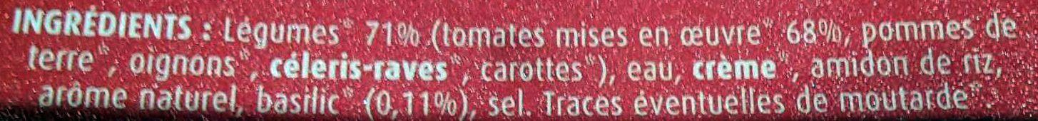 Velouté Tomate & Basilic Bio - Ingrediënten - fr