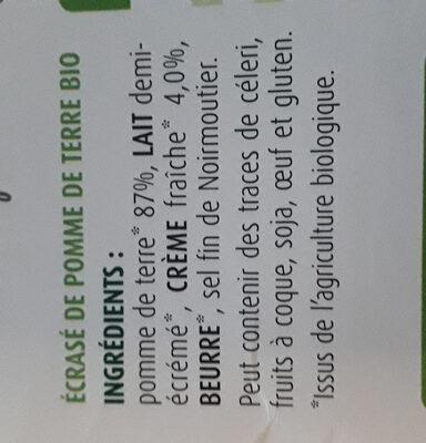 Écrasé pomme de terre bio - Ingrediënten - fr