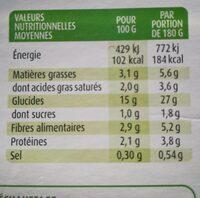 Écrasé pomme de terre bio - Voedingswaarden - fr