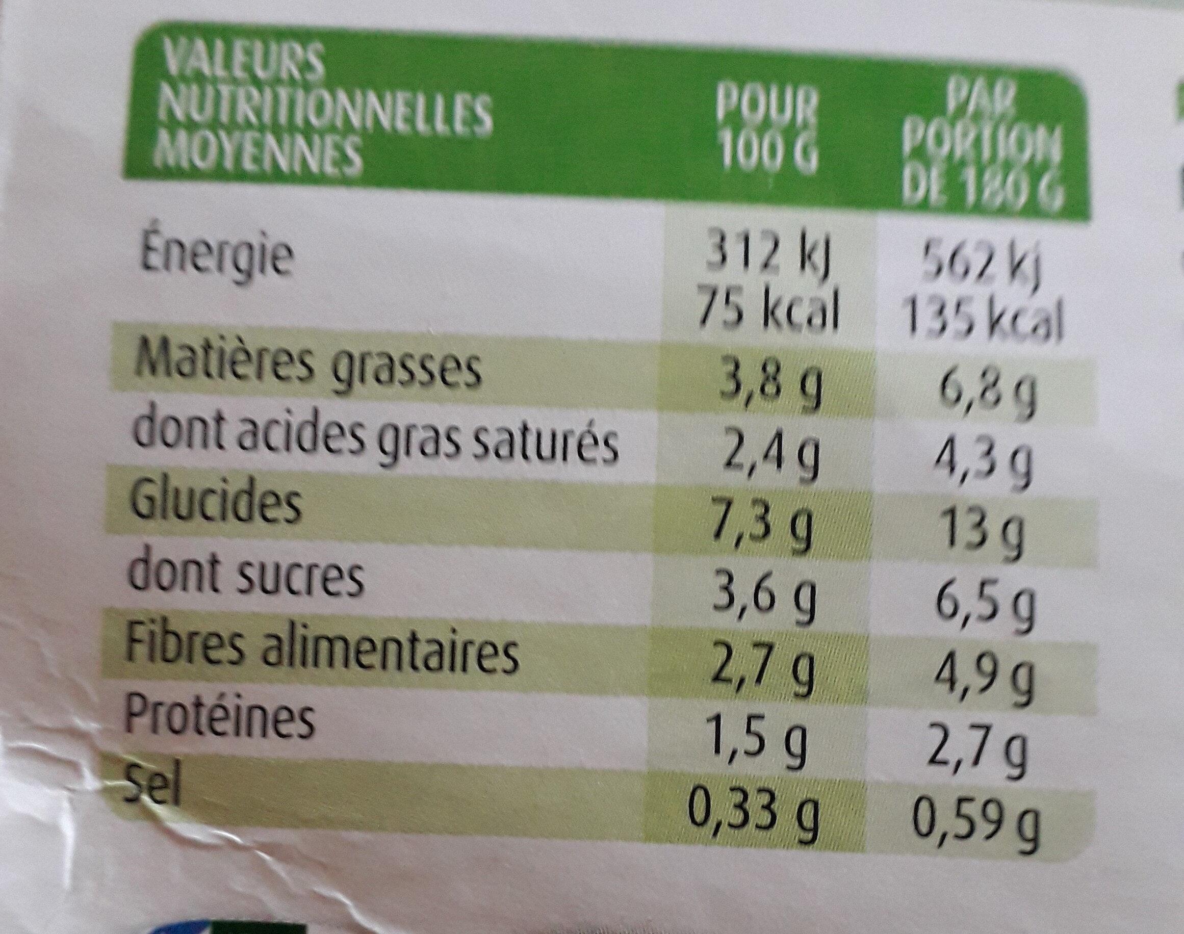 Purée Potimarron Bio - Voedingswaarden - fr