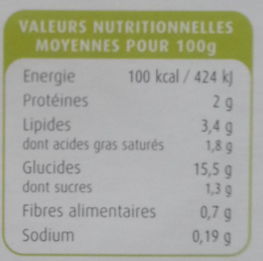 Purée Pomme de Terre et Noix de Muscade - Voedingswaarden - fr