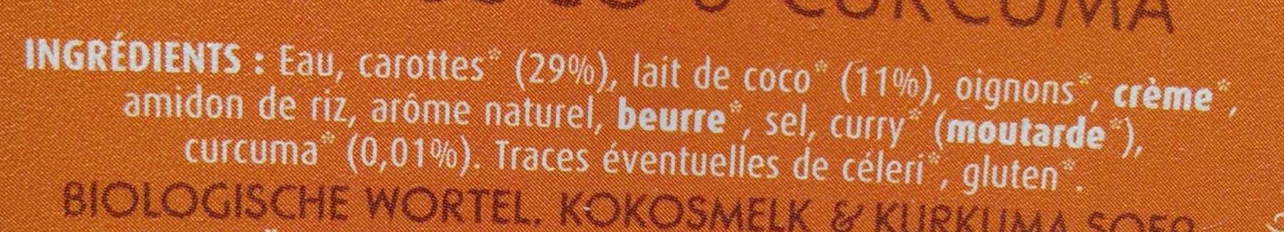 Soupe carotte, lait de coco et curcuma - Ingrediënten - fr