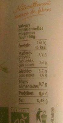 Soupe carotte, lait de coco et curcuma - Voedingswaarden - fr
