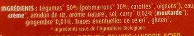 Soupe Potimarron gingembre et curry - Ingrédients