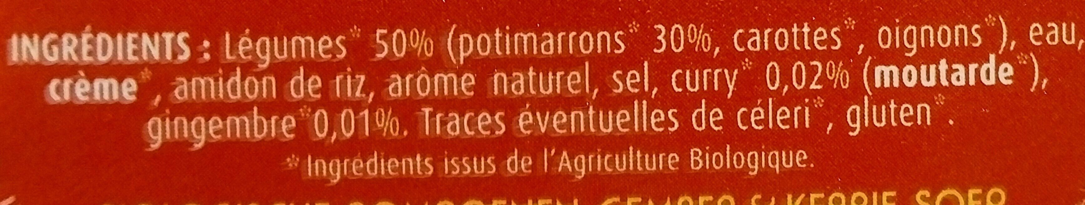 Soupe Potimarron gingembre et curry - Ingrediënten - fr