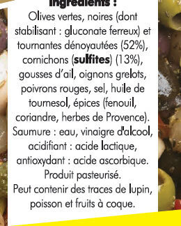 Melange d'olives denoyauteesaux cornichons - Ingredients