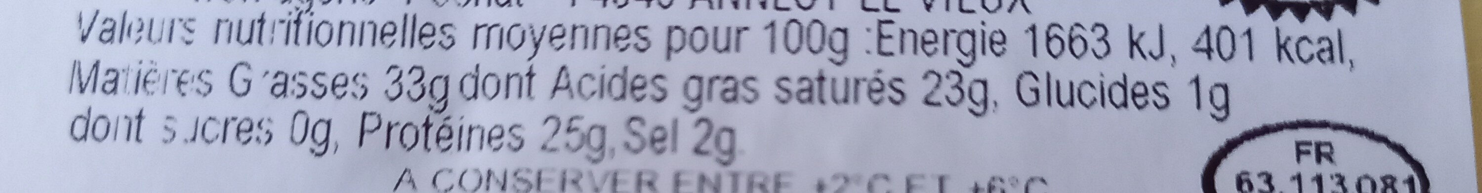 Fromage  ABONDANCE - Nutrition facts - fr
