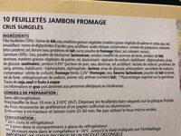 10 Feuilletés Jambon-fromage, 650 Grammes, Marque Chantegel - Ingrediënten