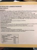 10 Feuilletés Jambon-fromage, 650 Grammes, Marque Chantegel - Voedingswaarden
