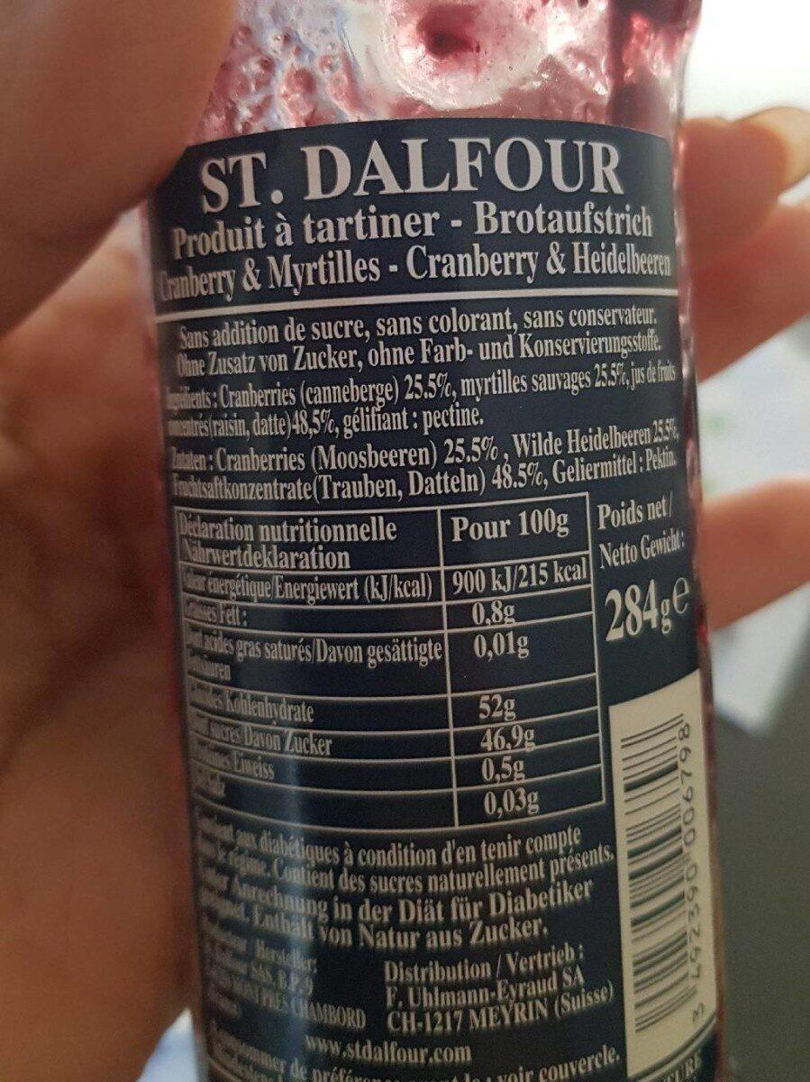 Confiture Cranberry & Myrtilles - Ingredienti - fr