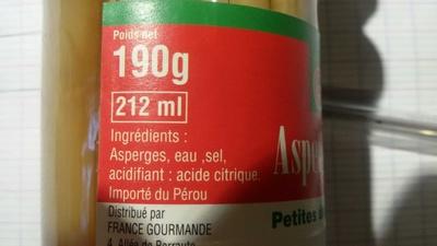 Asperges blanches, petites de qualité supérieure - Ingredients