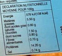 6 Portions de Colin d'Alaska Meunière Cuit 70G Prim - Nutrition facts