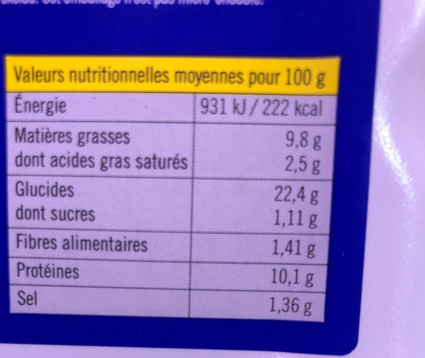 Croque baby fromage MSC - Valori nutrizionali - fr