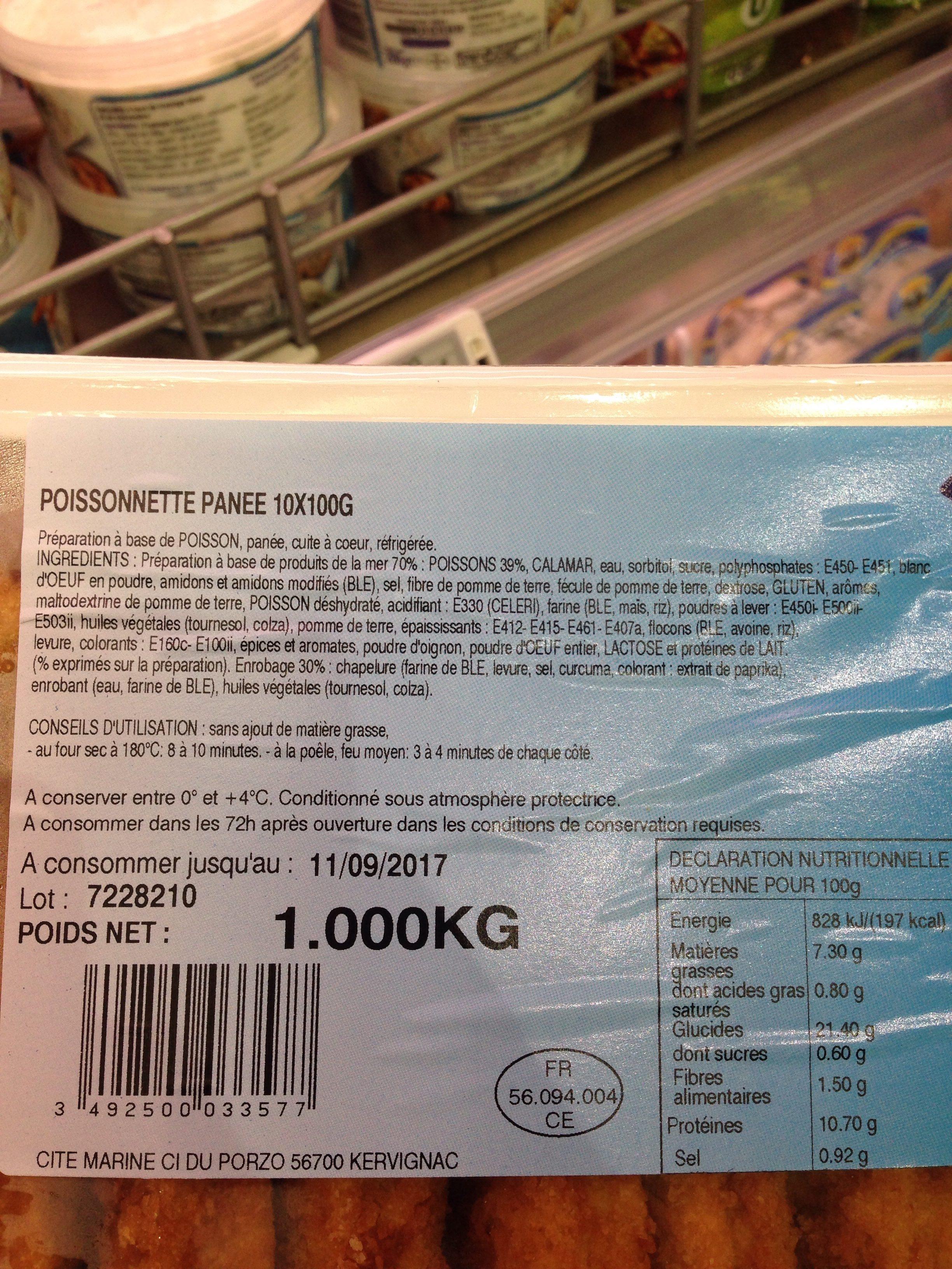 Poissonnette panee 10x100G - Ingrédients - fr