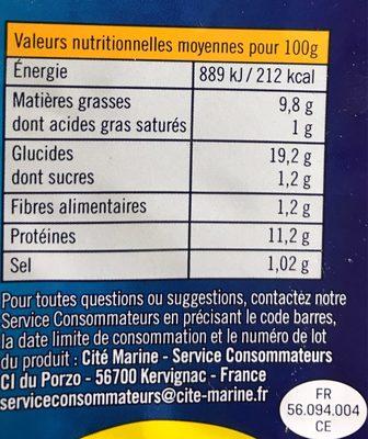 Poissonnettes panees - Informations nutritionnelles - fr