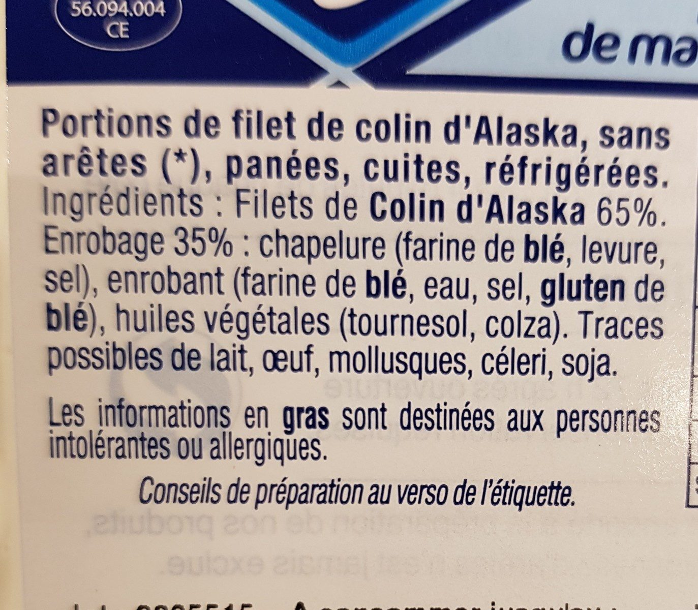 Filet de Colin d'alaska Pané - Ingredients