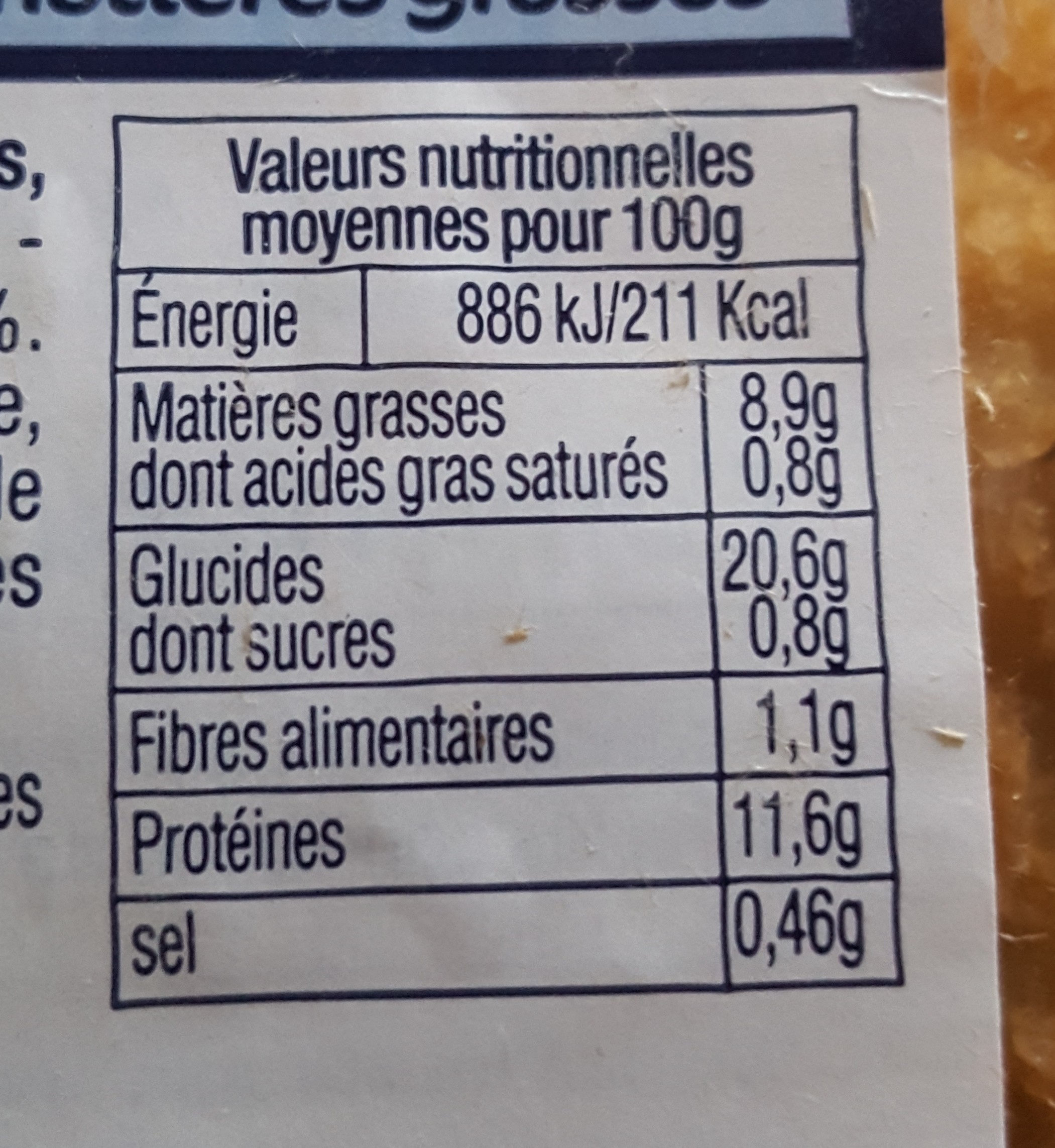 Filet de Colin d'alaska Pané - Nutrition facts