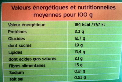 4 paillassons pommes de terre oignons - Voedingswaarden - fr