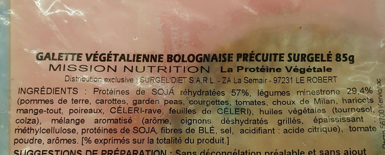 Galette végétale bolognaise précuite - Ingrédients