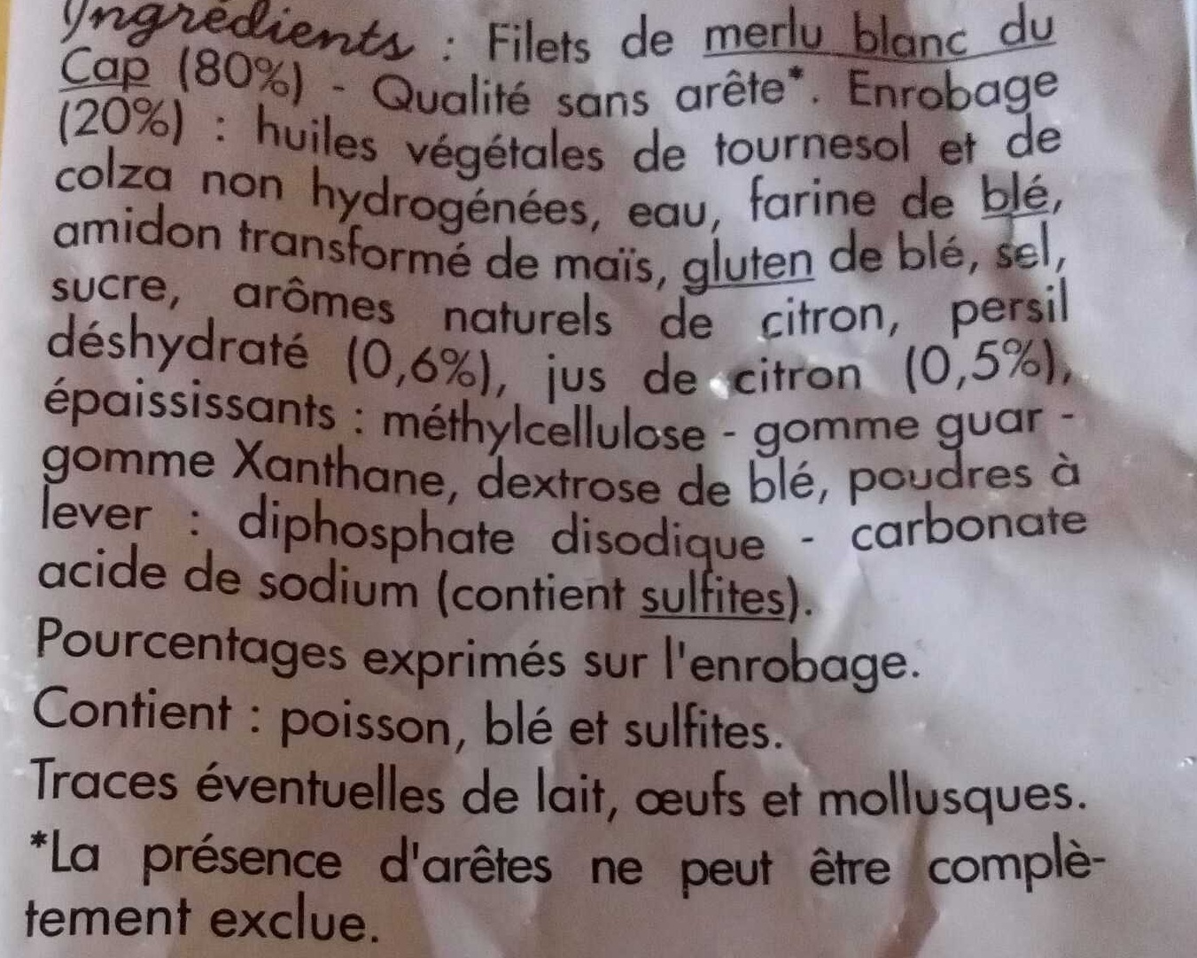 Plein filet de merlu blanc du Cap meunière - Ingredients