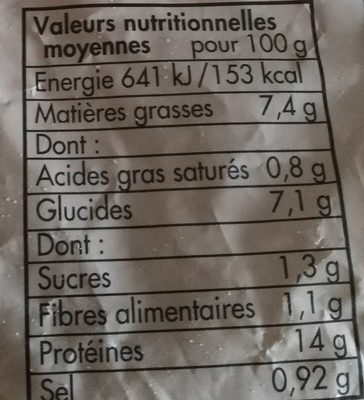 Plein filet de merlu blanc du Cap meunière - Nutrition facts