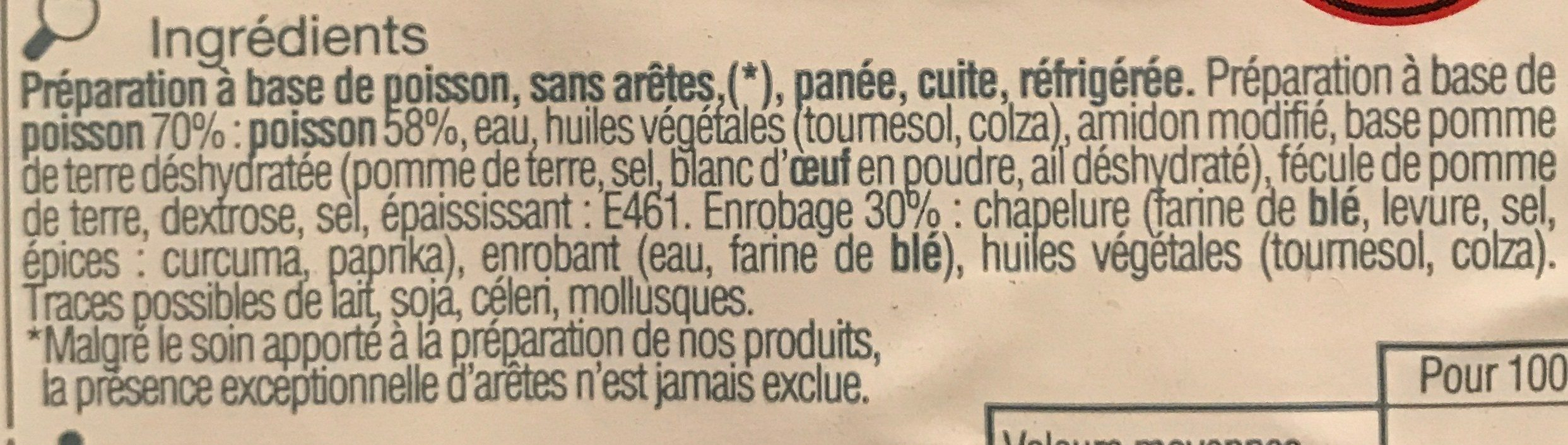Portions au Poisson Pané - Ingredients - fr