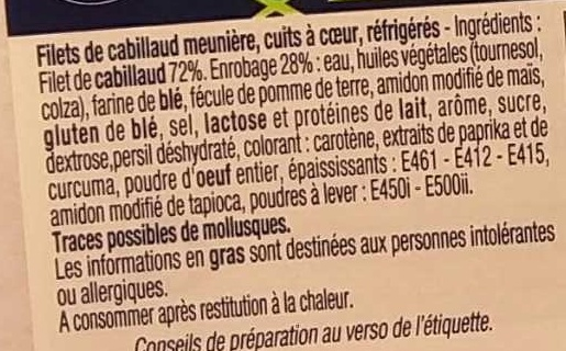 Filets de Cabillaud Meunière - Ingredients