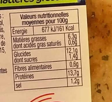 Filets de Cabillaud Meunière - Nutrition facts