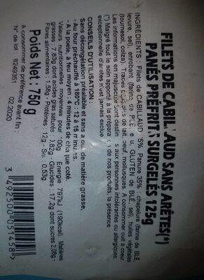 Filet de cabillaud sans arêtes pané - Informations nutritionnelles - fr