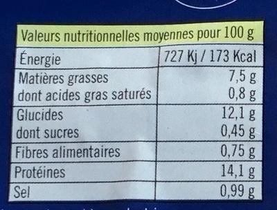 Filets de cabillaud façon fish & chips - Nutrition facts