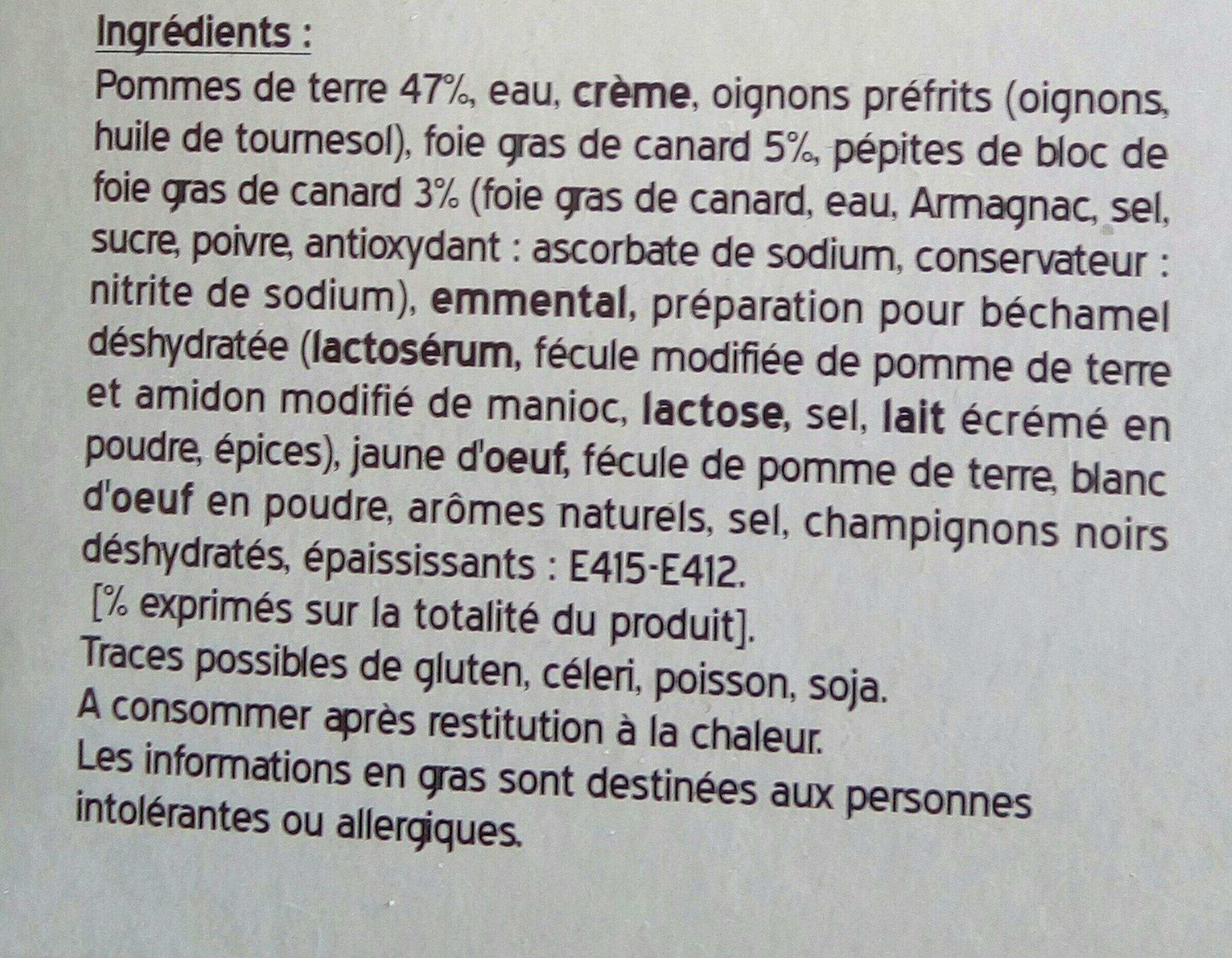 Mini gratin pomme de terre foie gras CITE MARINE - Ingrédients - fr