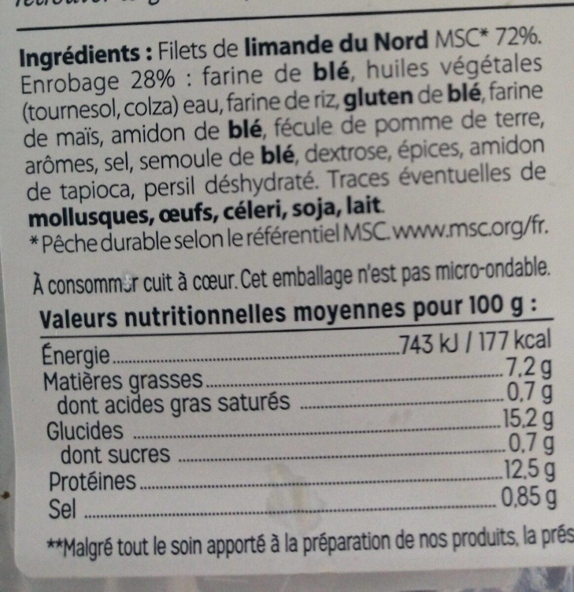 Filet de limande du Nord meunière, sans arête, cuit à cœur - Product - fr